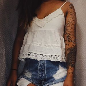 Lace babydoll crop top
